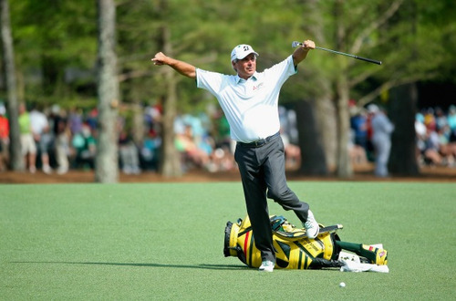 Fred Couples, 54, seems quite happy with this shot during Friday's action. Photo: Getty Images